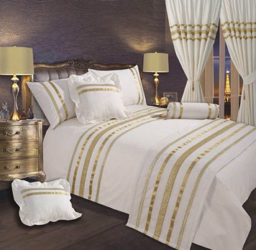 CREAM & GOLD COLOUR STYLISH SEQUIN DUVET COVER LUXURY BEAUTIFUL GLAMOUR SPARKLE EGYPTIAN COTTON BEDDING